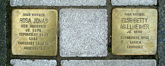 Hans Jonas - In front of the house, two Stolpersteine were installed in 2008. The left one commemorates the philosopher's mother Rosa Jonas, murdered in Auschwitz in 1942.