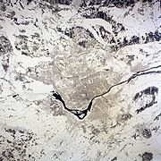 Island of Montreal in winter, as seen from space