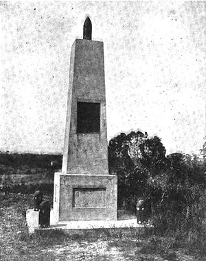 Rough Riders Memorial - The memorial to the Rough Riders at San Juan Hill near the old Spanish Army blockhouse in 1910.