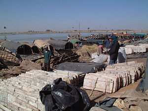 Taoudenni - Slabs of salt from the mines of Taoudenni stacked on the quayside at the port of Mopti
