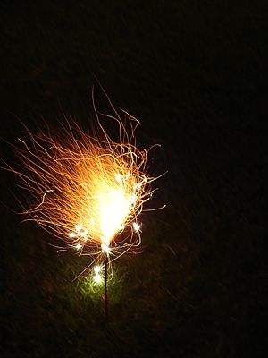 "Sparkler - A ""Morning Glory"" type sparkler, emitting small pyrotechnic stars during this phase of the burn"