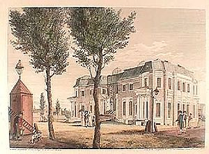 "Robert Morris (financier) - L'Enfant designed mansion aka ""Morris's folly"" on Walnut St. between 7th and 8th Streets in 1800. Engraving by William Russell Birch."