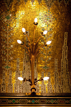 Nacre - White nacre mosaic tiles in the ceiling of the Criterion Restaurant in London