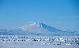 Mount Melbourne - Mount Melbourne seen from the ice-covered Ross Sea