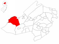 Mount Olive Township highlighted in Morris County. Inset map: Morris County highlighted in the State of New Jersey.