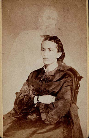 Banner of Light -  Mrs. Conant of Banner of Light. Her Brother, Charles H. Crowell. The ghostly image of the medium's brother appears behind her in this Albumen print carte de visite.