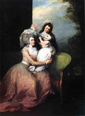 John Barker Church - Mrs. John Barker Church, Son Philip, and Servant, oil on canvas, John Trumbull, c. 1785