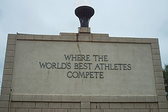 Walnut, California - Olympic Flame and wall of honor at Hilmer Lodge Stadium