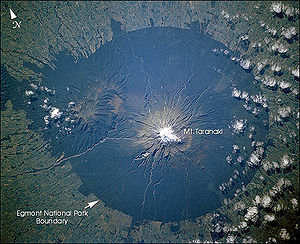 Egmont National Park - NASA satellite picture of Mount Taranaki showing the nearly-circular Egmont National park surrounding it.