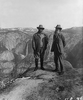 Roosevelt and Muir on Glacier Point in Yosemite National Park Muir and Roosevelt restored.jpg