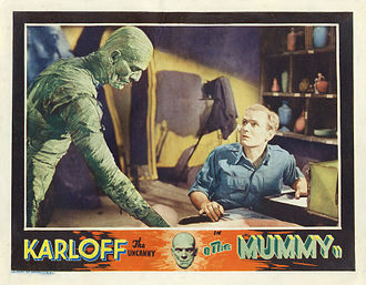 "The Mummy (1932 film) - Film poster with text: ""Karloff the uncanny in The Mummy"""