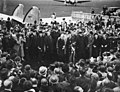 """Munich Agreement (Münchener Abkommen) 1938-09-30 Neville Chamberlaine showing the Anlo-German declaration (""""Peace for our time""""). Heston Aerodrome, west of London, England. Narodowe Archiwum Cyfrowe 3 1 0 5 268 1 1 111331 No known cop.jpg"""