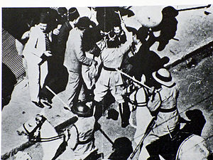 1934 in Mandatory Palestine - 80-year-old Musa al-Husayni being clubbed by a British Policeman, Jaffa, 27 October 1933.