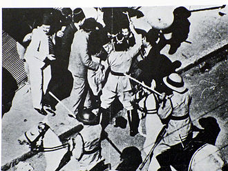 Musa al-Husayni - Musa Kazim being clubbed by a British Policeman, Jaffa, 27 October 1933.