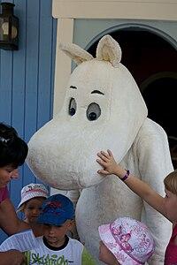 Moomintroll in Moomin World theme park, Naantali, Finland.