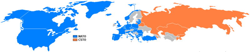 NATO members in blue, CSTO members in orange NATO CSTO.PNG