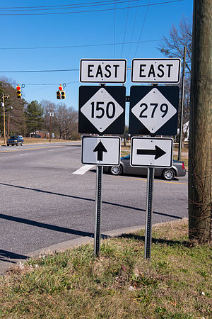 Cherryville, North Carolina - Directional signs of NC 150 and NC 279, in Cherryville