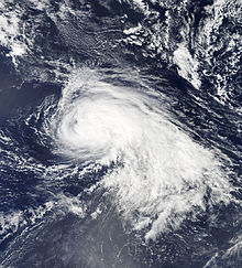 Nadine after becoming a hurricane on September 15. An eye is not visible.