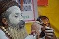 Naga Sadhu Smoking Ganja - Gangasagar Fair Transit Camp - Kolkata 2013-01-12 2575.JPG