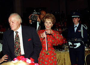 Ronald Reagan Freedom Award - Nancy Reagan presents entertainer Bob Hope with the Award, 1997
