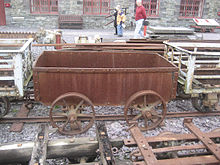 Horse-drawn slate wagon used on the Nantlle Railway, now preserved at the Welsh Slate Museum. Nantlle Tramway wagon.jpg