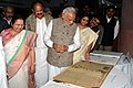 Narendra Modi at the inauguration of an exhibition on making of the Constitution by the Constituent Assembly, at Parliament Library, in New Delhi. The Speaker, Lok Sabha, Smt. Sumitra Mahajan (1).jpg