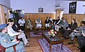 Narendra Modi presiding the meeting at Srinagar to review the situation of flood affected areas, in Jammu and Kashmir. The Governor of Jammu and Kashmir, Shri N.N. Vohra, the Chief Minister of Jammu and Kashmir.jpg