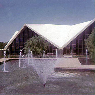 National Cowboy & Western Heritage Museum - Fountains in front of the imposing entrance to the then named National Cowboy Hall of Fame in Oklahoma City in May 1972.