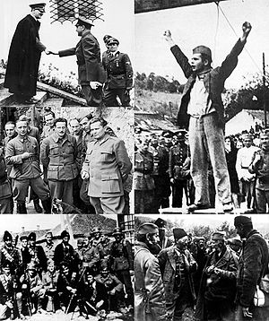World War II in Yugoslavia - Clockwise from top left: Ante Pavelić visits Adolf Hitler at the Berghof, Stjepan Filipović hanged by the occupation forces, Draža Mihailović confers with his troops, a group of Chetniks with German soldiers in a village in Serbia, Josip Broz Tito with members of the British mission