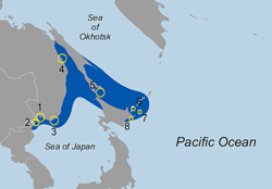 Native range of the Japanese skeleton shrimp (Caprella mutica).png