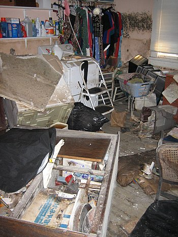 Interior of part of a damaged home in New Orle...