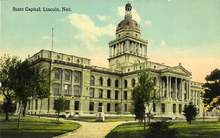 Postcard: Nebraska's second state capitol as viewed from the northeast corner, c. 1912.