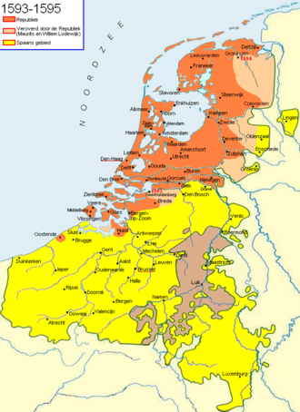 Triple Alliance (1596) - A map of the Netherlands showing the progress of the war against Spain from 1593 to 1595.