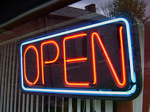 Open sign in Yellow Springs, Ohio, USA