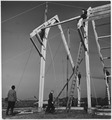 Netherlands. (Workmen working on the framing of a building.) - NARA - 541708.tif