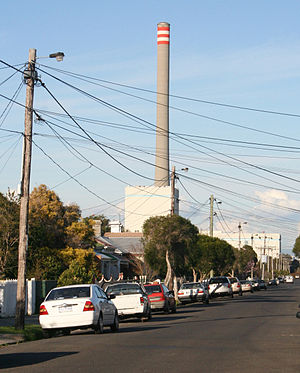 Newport Power Station - Newport chimney dominates the surrounding suburbs