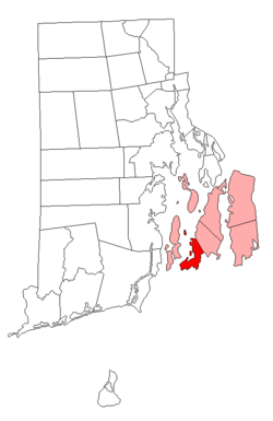 Location of Newport in Newport County, Rhode Island