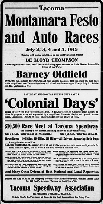 Tacoma Speedway - A 1915 advertisement from The Tacoma Times.