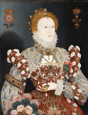 Elizabeth I of England was commonly depicted with a whitened face. Lead in face whiteners is thought to have contributed to her death. Nicholas Hilliard (called) - Portrait of Queen Elizabeth I - Google Art Project.jpg