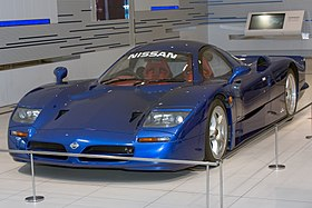 Nissan R390 GT1 (road car) front-left 2015 Nissan Global Headquarters Gallery.jpg