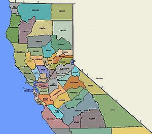 English: Map of the Counties of Northern Calif...
