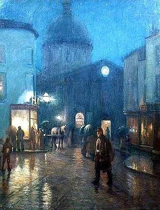 Norman Garstin - A Steady Drizzle, oil on canvas