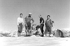 Tom Frost - Frost, Robbins, Pratt and Chouinard at the completion of the first ascent of the North America Wall on El Capitan in 1964. Photo by Tom Frost.