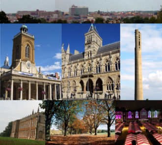 Northampton - From top left: Skyline of Northampton town centre from Delapre Park; All Saints' Church; Northampton Guildhall; the National Lift Tower; Delapré Abbey; Abington Park; Market Square