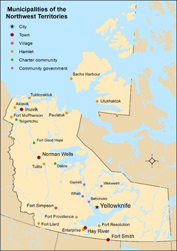 Map showing locations of all municipalities of the Northwest Territories