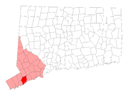 Location in Fairfield County, Connecticut and the state of Connecticut