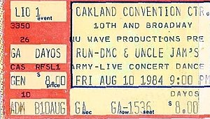 Uncle Jamm's Army - A ticket for a 1984 Uncle Jamm's Army concert with Run-DMC in Oakland, California