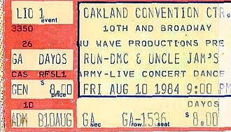 Run-DMC - A ticket for a 1984 concert in Oakland, California