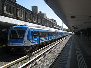 Once railway station - A Sarmiento Line Trenes Argeninos train at the station.