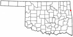 Location of Watts, Oklahoma